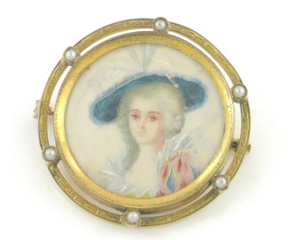 Antique Hand Painted Miniature Portrait Brooch - Edwardian Pin Lady in Hat in Gold Tone Frame with Cultured Pearls - Signed by Corah
