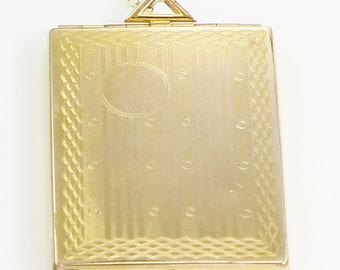 "Art Deco Large Locket Engraved Rectangle Pendant Gold Filled Necklace 20"" Chain - Sentimental Vintage Tablet Locket"