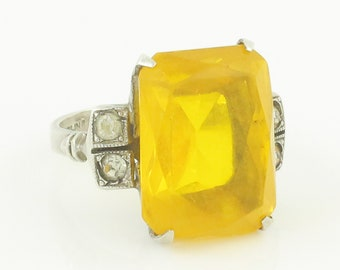 Art Moderne Golden Glass Silver Ring - Uncas Large Statement Ring Deep Yellow Paste in Sterling Silver - Size 7.75 - Vintage Estate Jewelry