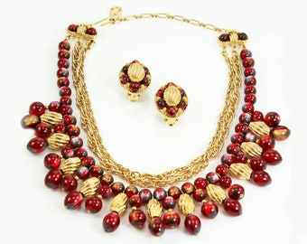 Vintage Kramer Cranberry Beaded Cleopatra Collar Statement Necklace and Earrings - 1960s Signed Costume Jewelry Set
