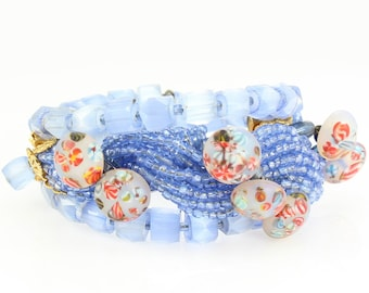Luxe Baby Blue Satin Glass Seed Bead Twist Memory Wire Bracelet with Millefiori Buttons circa 1950 - Vintage Art Glass Jewelry