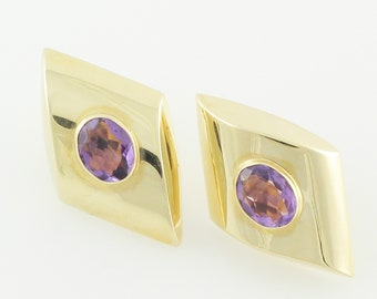 Bold Gold Amethyst Earrings - 14K Yellow Gold Oval Amethyst Oversized Pierced Earrings - Signed Peter Brams Designs - 1980s Vintage Jewelry