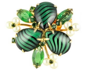 1960's Vintage Striking Green Black Tiger Stripe Art Glass Rhinestone Simulated Pearl Brooch - 1950s Costume Jewelry
