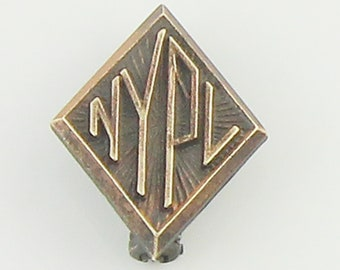 New York Public Library Employee Pin - Art Deco NYPD Lapel Pin Signed C & C Clark Coombs - New York City Nerd Souvenir - Vintage Jewelry