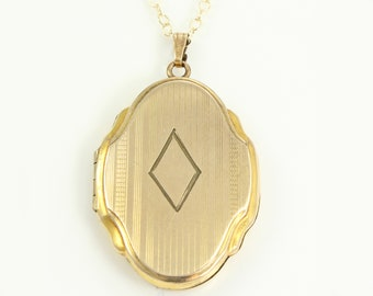 Vintage Large Fancy Locket Necklace - 1/20 12K Gold Filled Cartouche Shape - 20 inch Chain Necklace - Romantic Vintage Jewelry