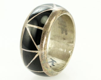 Vintage Sterling Silver Black Onyx Inlay Triangle Wedding Band Ring Size 9.5 - Southwestern Domed Onyx Band - Hippie Wedding Ring