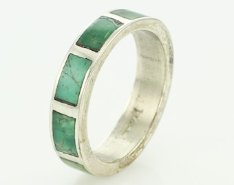 Vintage Green Turquoise Inlaid Sterling Silver Wedding Band Ring Size 12 -New Old Stock Bell Trading Post Southwestern Jewelry - Hippie Ring