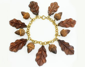 Vintage Carved Wooden 3D Acorn and Leaf Bracelet with Brass Chain - World War II Era Wood Jewelry