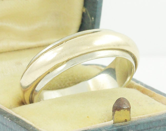 Featured listing image: Heavy 14K Two Tone Wedding Band - 14K White and Yellow Gold Wedding Ring by Stylecrest Size 12 11.2 Grams - Vintage Fine Jewelry