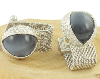 Vintage Cats Eye Wrap Around Cuff Links - Swank Silver Tone Mesh Gray Lucite Moonglow Cufflinks - Vintage Jewelry