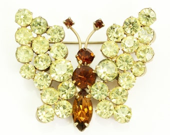 Rhinestone Butterfly Brooch - Vintage Yellow and Rootbeer Crystal Dimensional Pin - 1950s Jewelry