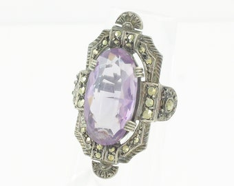 Art Deco Amethyst Statement Ring - Sterling Silver Marcasite 5 CT Natural Amethyst Ladys Ring - Size 4.5 circa 1920 - Vintage Fine Jewelry