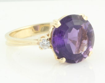 Amethyst Diamond Ring - 14K Yellow Gold 5 CT Round Amethyst .10 CT TW Diamonds - Vintage Fine Jewelry