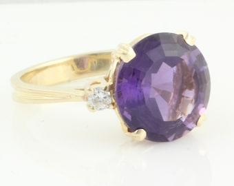 Amethyst Diamond Ring - 14K Yellow Gold 5 CT Round Amethyst .10 CT TW Diamonds - Vintage Fine Jewelry