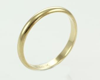 Vintage 14K Yellow Gold Half Dome Wedding Band Size 7.75 Orange Blossom by Traub - Art Deco Ring - Estate Jewelry