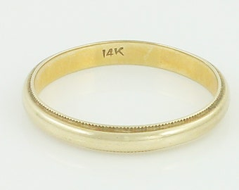 Vintage 14K Milgrain Edge Wedding Band - 585 Yellow Gold Dome Band Ring Size 5 - Vintage Fine Jewelry