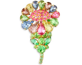 Vintage Pastel Rhinestone Flower Brooch - Vibrant Multicolor Crystal Spring Daisy Pin - 1960s Era Vintage Costume Jewelry