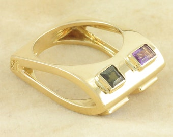 18K Amethyst Citrine Green Tourmaline Modernist Ring - Retro 750 Yellow Gold Square Shank - Size 6.5 Signed 7.5 grams - Vintage Fine Jewelry