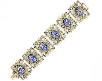 Blue Gold Tone Bracelet - Vintage Victorian Revival Bold Foiled Art Glass Statement Link Bracelet - Forties Jewelry