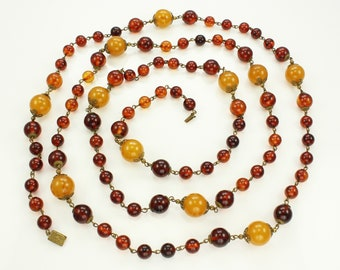 Art Deco Bakelite Beads - Very Long Rootbeer and Butterscotch Bakelite and Brass Necklace 60 Inches - Vintage Plastic Jewelry