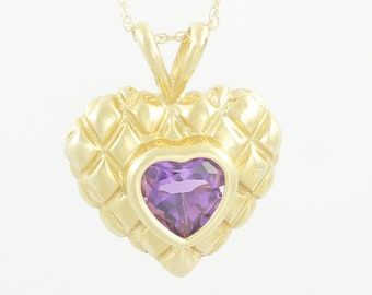 14K Amethyst Quilted Heart Pendant Necklace - Yellow Gold 1.5 CT Amethyst Sweetheart Gift - February Birthstone - Vintage Fine Jewelry