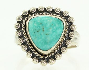 Bell Trading Gem Turquoise Sterling Silver Ladies Ring Size 6 - New Old Stock Bell Trading Post 925 Silver Turquoise Jewelry Southwestern
