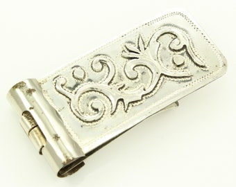 Silver Money Clip - Engraved Applique Sterling Money Holder - Plata Bez Guadalajara Mexico - Vintage Mexican Jewelry