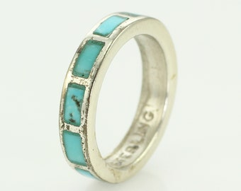 Vintage Turquoise Inlaid Sterling Silver Wedding Band Ring Size 5.5 - New Old Stock Bell Trading Post Southwestern - Vintage Jewelry