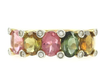 Multi-Colored Natural Tourmaline Diamond 14K Ring - Oval Green Pink Golden Tourmaline Band - Size 10.5 - 4.9 gram - Vintage Fine Jewelry