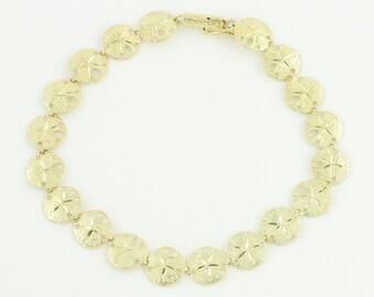 14K Sand Dollar Bracelet - Vintage Yellow Gold Ladies Sea Life Beach Ocean Shore Bracelet - circa 1980 - Vintage Fine Jewelry