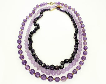 Three Strands Amethyst Bead Necklaces - Vintage Amethyst Estate Jewelry