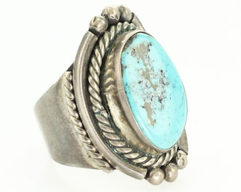 Vintage Mans Sterling Silver Turquoise Old Pawn Ring Size 11 - Hand-Made New Old Stock Southwestern Jewelry - Rope Bezel Dew Drop Decoration