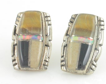 Southwestern Silver Inlay Earrings - 925 Sterling with Tiger Eye Created Opal Jasper and Black Onyx - 5.3g Hand Made - Vintage Jewelry