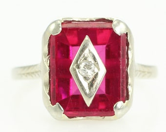 Art Deco Created Ruby Diamond Ring - .03 Ct Natural Diamond - 14K White Gold Fine Jewelry - Size 3 1/2 - Vintage Fine Jewelry