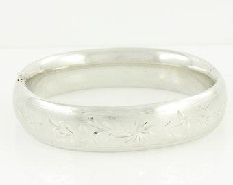 Floral Engraved Sterling Bracelet - Sterling Silver Flower Hinged Slide Bangle Bracelet 7 Inch - Circa 1960 - Vintage Fine Jewelry