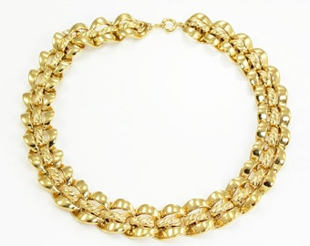 Trifari Bold Gold Tone Collar - Vintage Signed 1980s Necklace - Retro Costume Jewelry