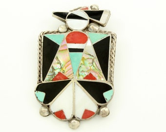 Old Pawn Sterling MultiStone Inlay Thunderbird Brooch circa 1970 - New Old Stock Silver Turquoise Inlaid Pin - Vintage Boho Jewelry