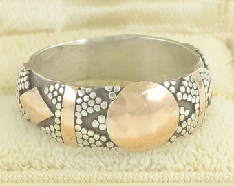 Vintage Sterling Silver Gold Filled Band - Bali Style 925 Beaded Decoration - 4.9 grams circa 1990 Size 7.5 - Vintage Fine Jewelry