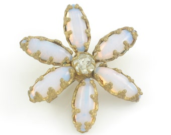 Victorian Opalescent Glass Crystal Lace Pin - Antique Star Flower Lapel Brooch - Gold Tone Dainty Brooch - Vintage Jewelry