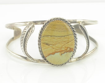 Southwestern Silver Picture Jasper Cuff Bracelet - Vintage Sterling Hand Made Feather Accents - Signed TM - Vintage Southwestern Jewelry