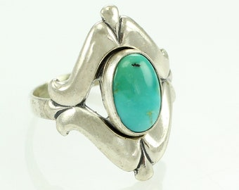Silver Turquoise Ring - Sterling New Old Stock Bell Trading Post Southwestern Jewelry - 1970s Vintage Size 5.25