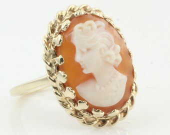 Hand Carved Cameo Ring - 10K Yellow Gold Shell Lady Crosby - 1980s Edwardian Revival - Vintage Jewelry