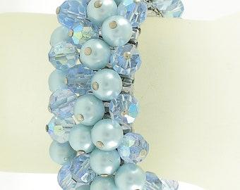 Vintage Blue Crystal AB Glass Pearl Cha-Cha Expansion Bracelet - Crystal Stretch Bracelet- Something Old Something Blue - Vintage Jewelry