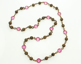 Art Deco Pink Crystal Brass Filigree Bead Necklace - Vintage Brass and Glass Jewelry