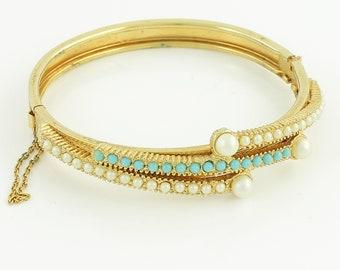 Vintage Faux Turquoise Imitation Pearl Bangle Bracelet - Gold Tone Hinged Bangle circa 1960 - Vintage Jewelry