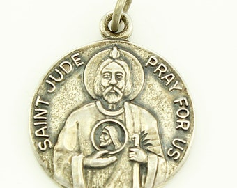 Saint Jude Medal - Vintage Sterling Silver Religious Pendant - Signed JCC - Vintage Catholic Jewelry