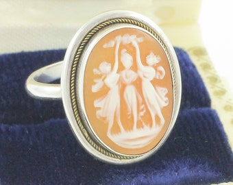 Silver Three Graces Cameo Ring - Carved Pink Shell Cameo set in Sterling Silver with Gold Filled Rope Frame c 1930 - Vintage Fine Jewelry