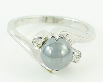 Silver Hematite Sphere Crystal Ring - Vintage Sterling Silver Bypass Ring - Signed ESPO Circa 1960 - Size 6 - Estate Jewelry