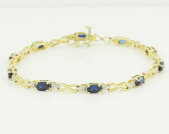 10K Bracelet with Enhanced Sapphires Natural Diamonds - 1980s Straight Line Tennis Yellow Gold X O Love Bracelet - Vintage Fine Jewelry
