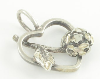 1980's Silver Heart Rose Necklace Pendant - 925 Sterling Diamond Cut Sweetheart Charm  - Vintage Jewelry